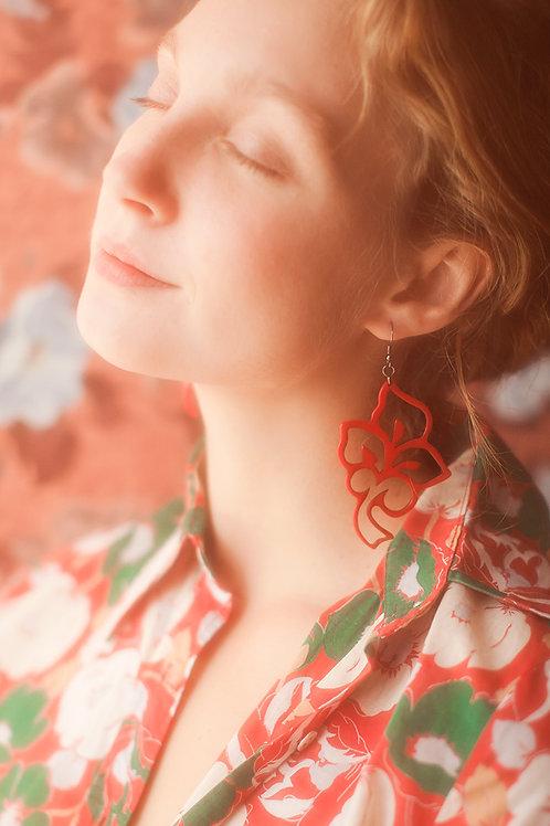 Red Floral Plexiglass Statement Earrings