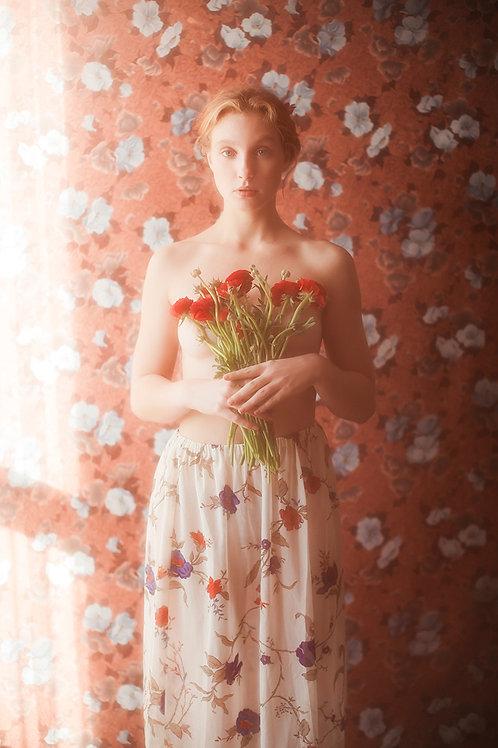 Vintage Floral Gauze Skirt