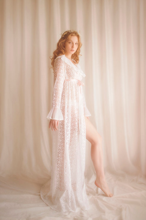Darling Vintage 1970's Long Lace Robe