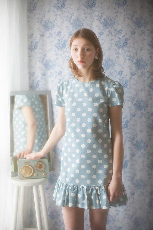 Adorable Blue Polka Dot Mini Dress