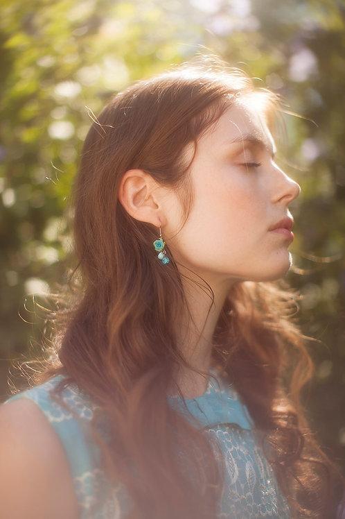 Delicate Blue Rose Earrings