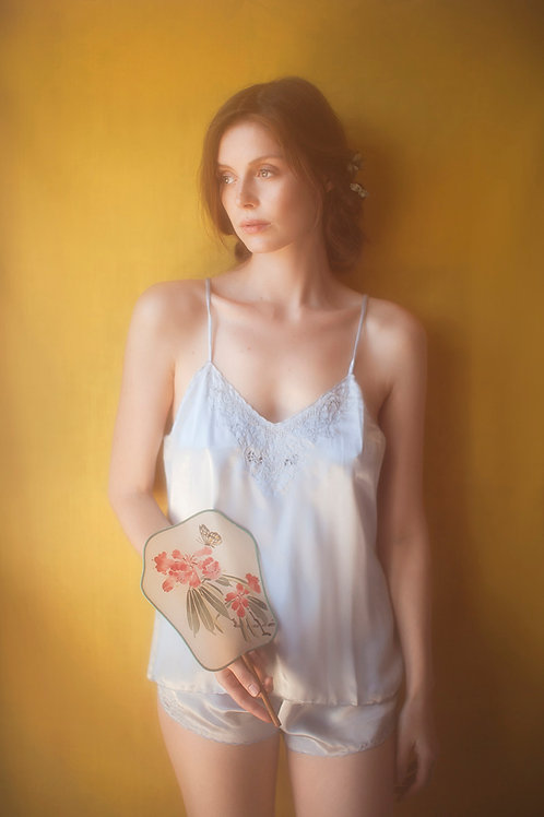Light Blue Embroidered Chinese Satin Camisole and shorts set