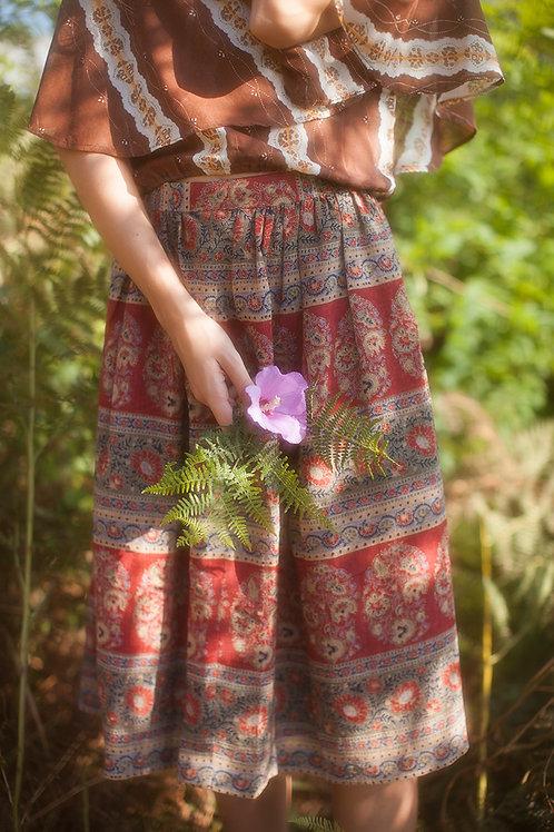 Vintage Bohemian Linen Blend Skirt