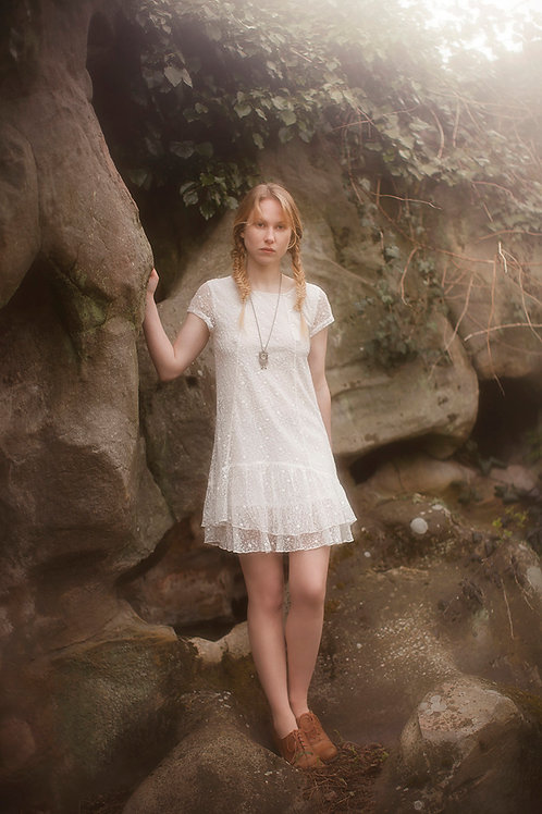White Embroidered tulle mini Dress