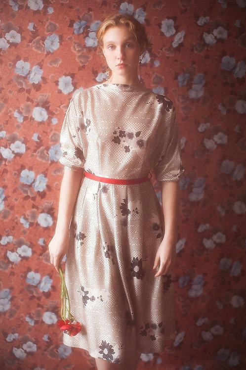 Elegant Vintage Grey Floral Jersey Dress