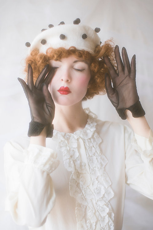 Black Vintage Sheer Gloves