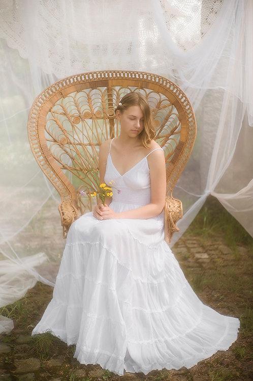 Bohemian White Cotton Maxi Dress