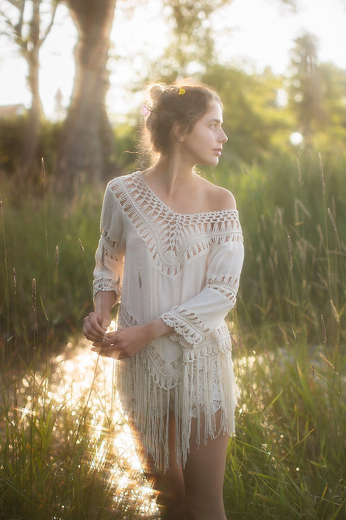 Bohemian Top with Fringes and Macrame