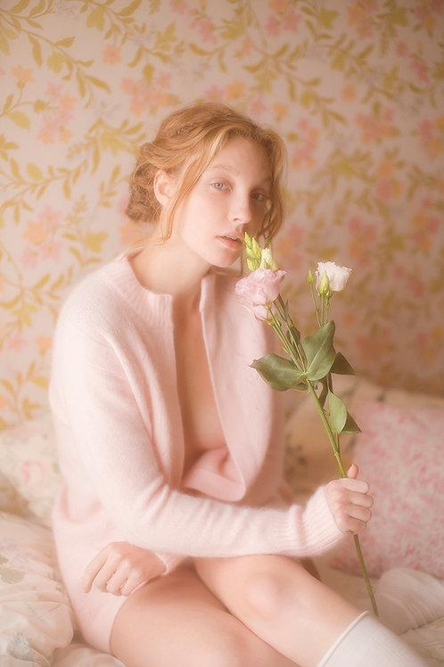 Vintage Pastel Pink Cozy Angora Long Cardigan