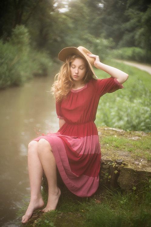 Vintage Burgundy and Polka Dots Dress