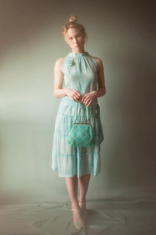Feminine Aqua Top and Skirt Set
