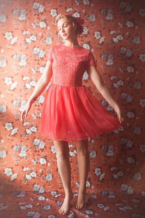 Red Embroidered Dress with Petticoat Skirt