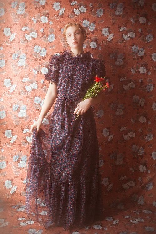 Gorgeous Vintage Floral Chiffon Maxi Dress