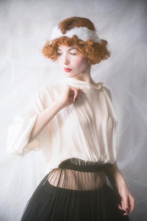 White Designer Drapped Silk Top