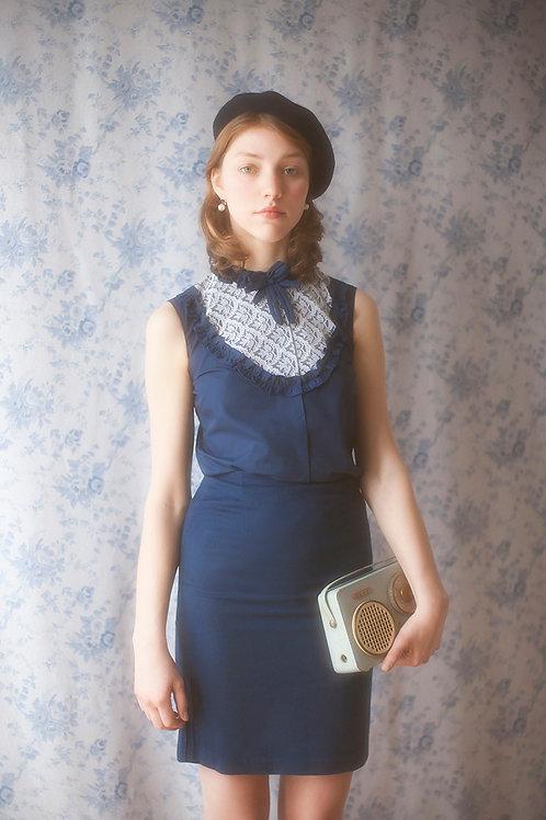 Vintage 60s Navy Wool Pencil Skirt