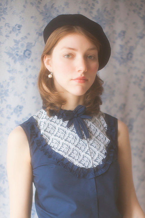 Vintage 60s Custom Made Blouse with Lace Detail