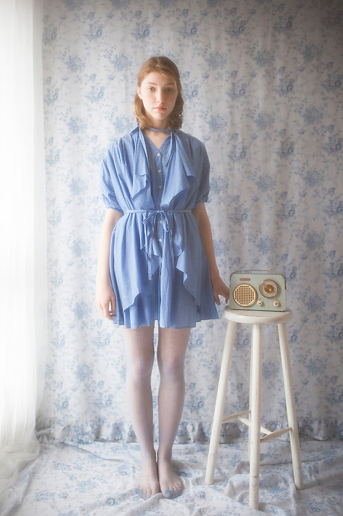 Versatile Deep Blue Shirt Dress