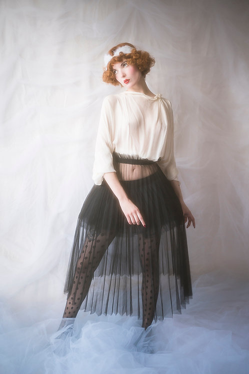 Black Pleated Tulle Skirt