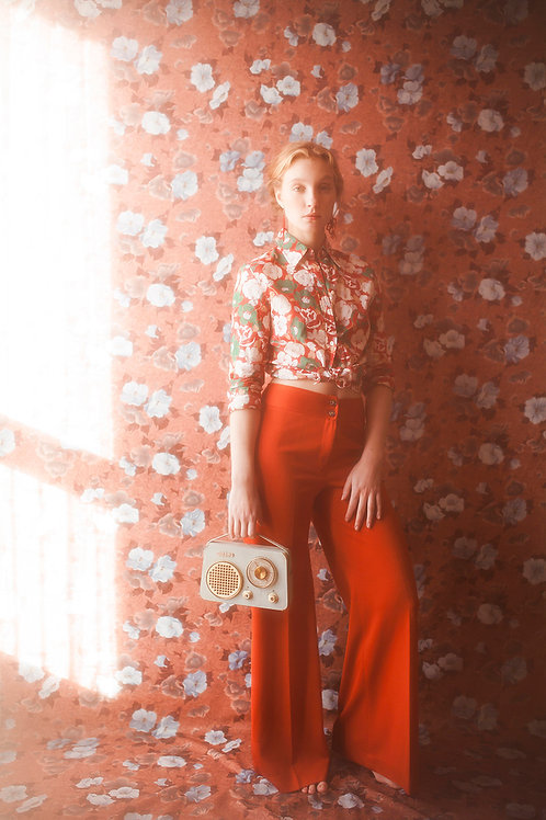 Elegant 1970s Red Flared Trousers