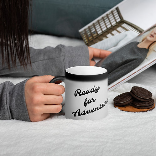 Ready for Adventure Matte Black Magic Mug
