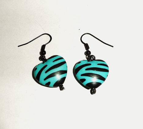 Boucles d'oreilles coeur zèbre bleu