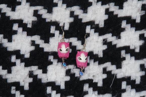 Boucles d'oreilles enfant figurine rose