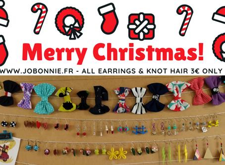Offre spécial Noël   Boucles d'oreilles & Nœuds 3€   Jo.Bonnie