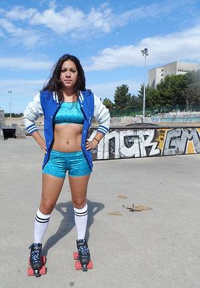 Short sport bleu