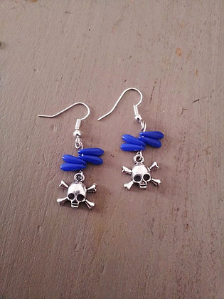 Boucles d'oreilles skull blue