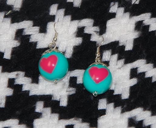 Boucles d'oreilles boule coeur tendresse