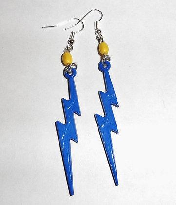 Boucles d'oreilles éclair bleu et jaune