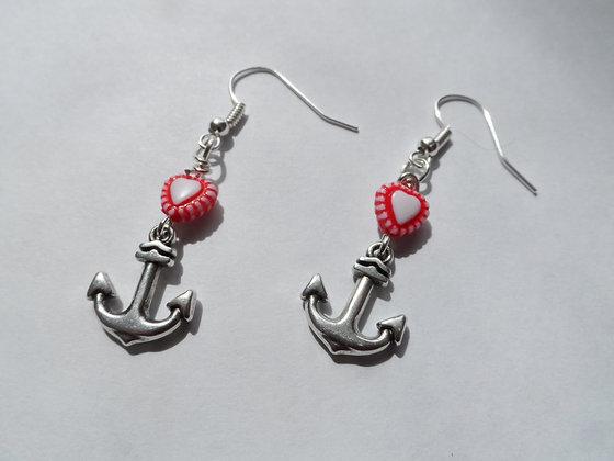 Boucles d'oreilles ancre coeur rouge