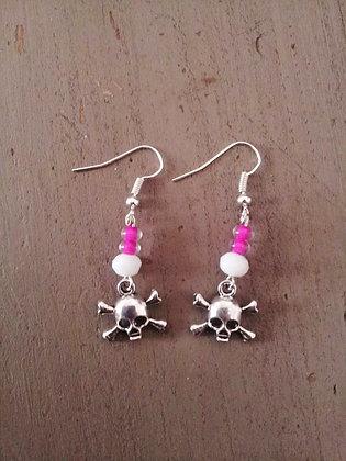 Boucles d'oreilles skull pink