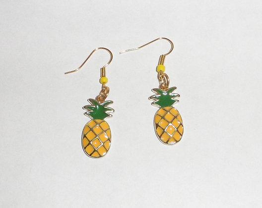 Boucles d'oreilles ananas doré