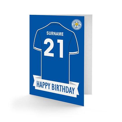 Leicester City FC Shirt Birthday Card