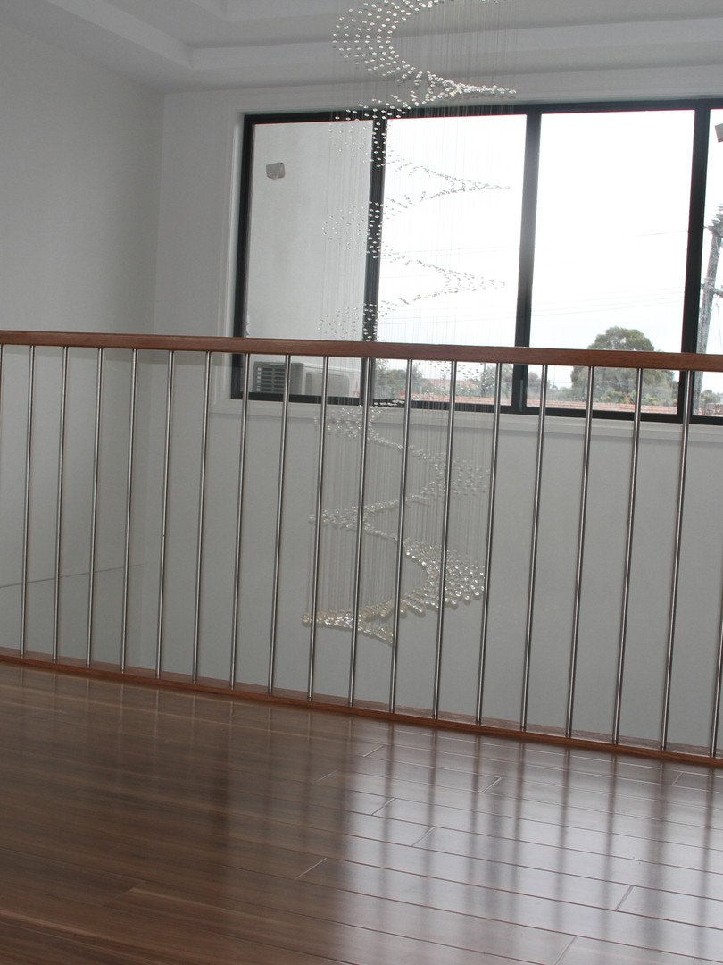 16 mm dia SS balustrade with hardwood handrail