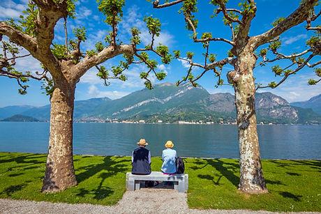 Shot of a senior couple sitting on a ben