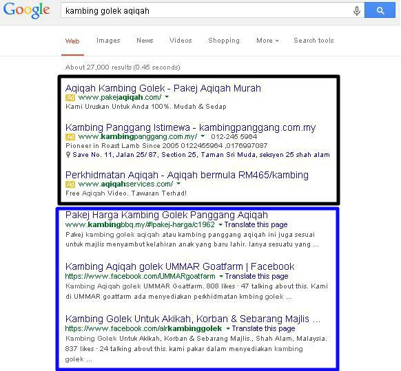 Kedudukan di google untuk kambing golek aqiqah