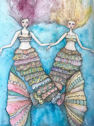 Boho Mer-Sisters Postcard