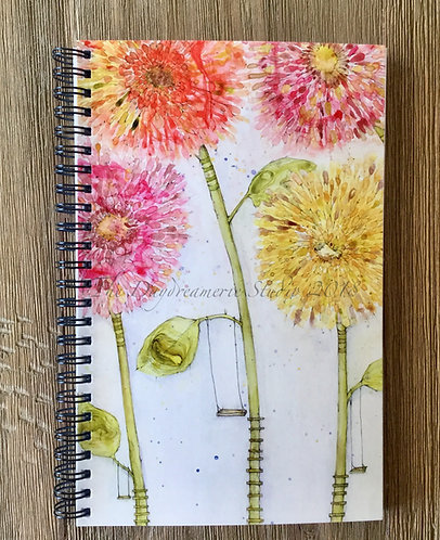 Let's Swing Beneath the Flowers Spiral Bound Midi-Notebook/Journal