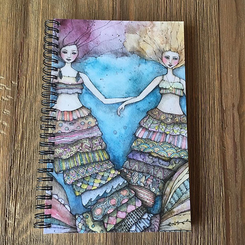 Boho Mer-Sisters Spiral Bound Midi-Notebook/Journal