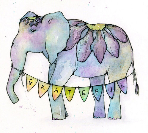 Gratitude Elephant Postcard