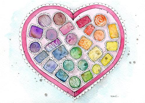 Rainbow Valentine Postcard