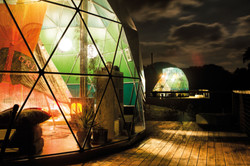 Night time in the geodesic domes Yoga & Foraging retreat