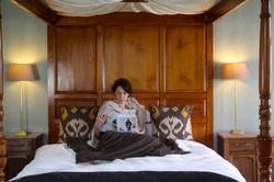 Woman enjoying a mindfulness reading moment
