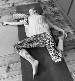 Amanda Bunton relaxing Yin yoga pose