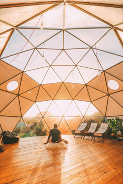 Yoga in a geodesic dome