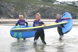 Group surf coaching Mawgan Porth