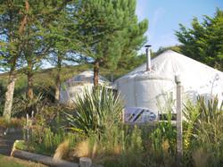 Surfboard outside the yurt