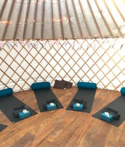 Yoga mats in a yoga yurt in Cornwall